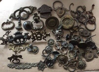 4 Pounds Of Escutcheons / Pulls , Mostly Brass, All Very Old