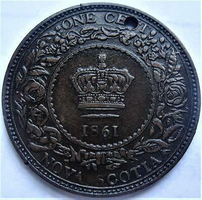 1861 Nova Scotia One Cent Small Bud ~ LOW MINTAGE Canada Large Value Coin Lot R1