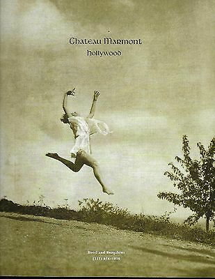 1993 Chateau Marmont Hotel Hollywood Vtg Print Ad Photo Barefoot Leaping Woman