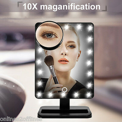 10X Magnifying Makeup Mirror+20 LEDs Lighted Cosmetic Vanity Stand Beauty Mirror
