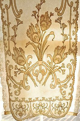 pair antique 19th c English tambour lace & muslin curtain panels