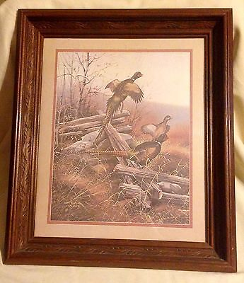 Beautiful Vintage Framed picture of Pheasents on the fence by Gregory Messier