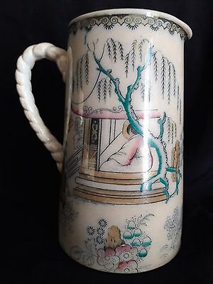 18/19th c Famille Rose Inspired French Chinoiserie Pitcher Staffordshire