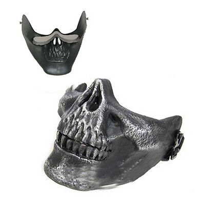 Skull Skeleton Airsoft Paintball Half Face Protect Mask For Halloween Z6A5