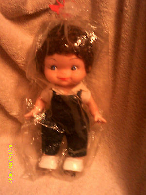 Brown Curly Haired DOLL*Blue Eyes*Plastic/Rubber*Org Outfit/Shoes*New in Pkg*VTG