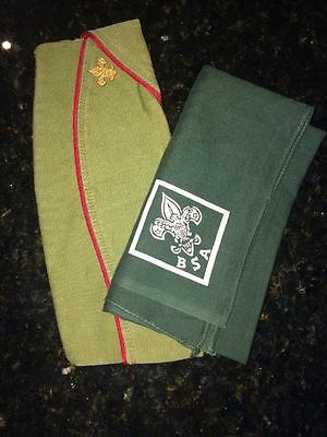 Official BSA Boy Scouts of America Envelope Hat WITH Pin and Neckerchief