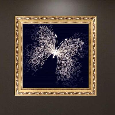 DIY 5D Diamond Embroidery White Butterfly Painting Cross Stitch Craft Home Decor