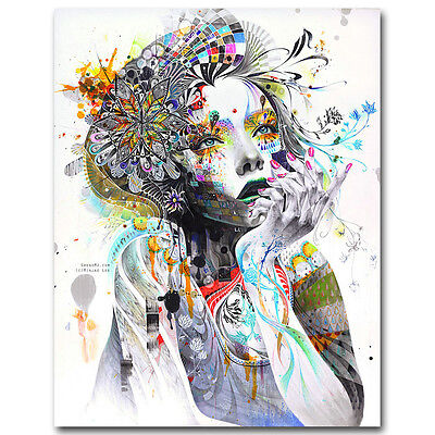 Trippy Psychedelic Girl Silk Poster Abstract Wall Art Prints 13x18 24x32inches
