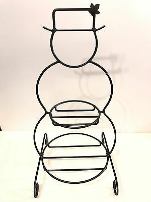Longaberger Hand-Forged Wrought Iron Large Snowman Stand, Made in USA 23 Inches