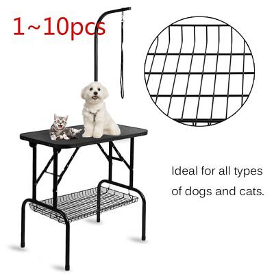 10pc Non-Slip Surface Pet Dogs Grooming Table Stainless Steel Arm Beauty Desk SY