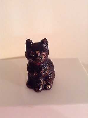 "Vintage Old antique small sitting black cat  cast Iron  1 3/4""    Hubley??"