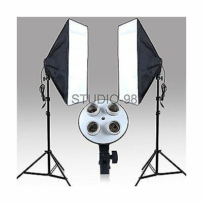 Continuous Lighting Kit with Two 4-Socket Light Heads for Total 8 Bulbs Two S...