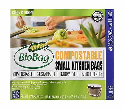 BioBag Small Kitchen Bags 10 Litre 48 Count