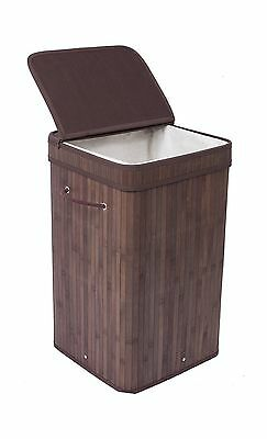BirdRock Home Square Laundry Hamper with Lid and Cloth Liner | Bamboo | Black...