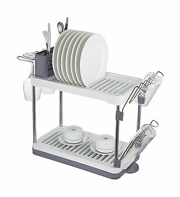 Surpahs 2-Tier Compact Dish Drying Rack (Gray)
