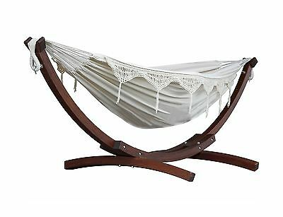 Vivere C8SPCT-00 Double Cotton Hammock with Solid Pine Arc Stand-Natural 8' N...