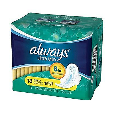 Always Ultra Thin Size 1 Regular Pads With Wings Unscented 18 count- Packing ...