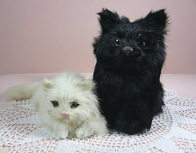 2 adorable real rabbit fur cat figurines in black & white, made in China! Cute