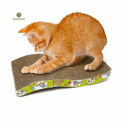 Scratcher Toy for Cats by SunGrow- Cat Scratch Board with a Curved Wave Desig...