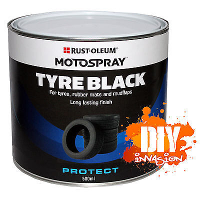 Tyre Black 500ml Satin Black Paint Motospray Tyres, Rubber Mats & Mud Flaps Auto