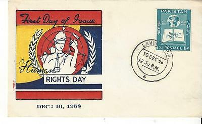 Pakistan 99  Human Rights 10th Anniversary  Hand Painted  FDC