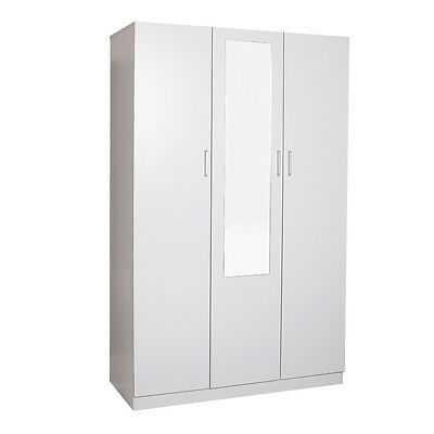 3 Door Combo Wardrobe with Mirror,White,huge hanging space