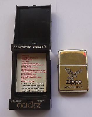 ZIPPO 1994 Solid Brass Lighter Code X A Eagle Emblem Unburned # Free Shipping