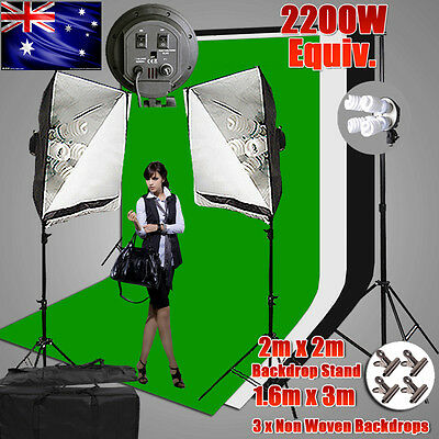 Photography Studio 4 HEAD Softbox Continuous Lighting 3Backdrop Screen Stand Kit