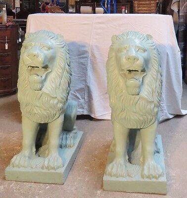 Rare Large Architectural pair of  Lion Sculptures, Cast Iron, Ca.. 1870's,