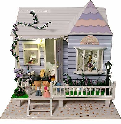 DIY Wooden Dollshouse Miniature Kit w/LED Lights - Falling in Love