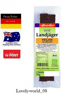 1 x 70g VEGAN Heirler Landjaeger-GERMAN made Sausage/Speck/Bacon ORGANIC cooking