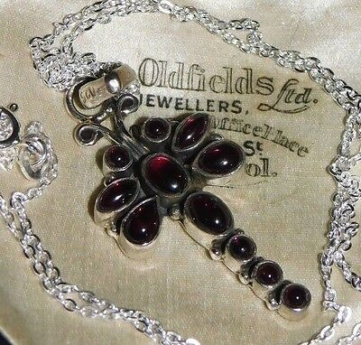 Gorgeous, VINTAGE, Sterling SILVER, GARNET Dragonfly Pendant NECKLACE Jewellery