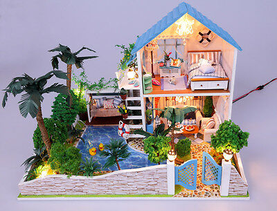 DIY Wooden Dollshouse Miniature Kit w/LED Lights - Sweet Home
