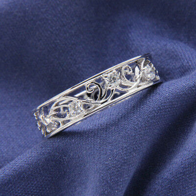 Filigree Diamond Wedding Band Unique Lace Ring Vintage Style 14K White Gold FN
