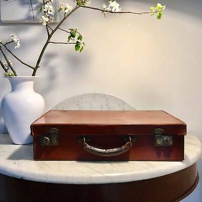 Rare 1920's Antique Vintage Leather Suitcase Cunard White Star Line Lancastria