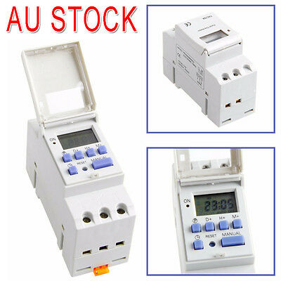 DIN Rail Digital LCD Time Switch Relay Power Programmable Timer AC 220-240V 16A