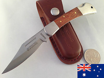 Large Folding leather pouch hunting camping fishing pocket bowie knife