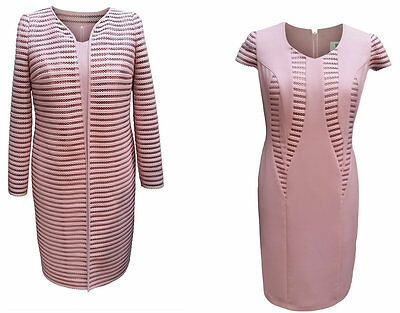 Dusty Pink Mother Of The Bride Groom Formal Outfit 2 Piece Jacket Dress Size 14