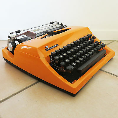Vintage Retro Adler Orange Contessa De Luxe Portable Typewriter With Case