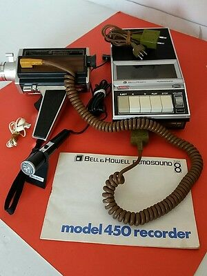 Bell & Howell Filmosound 8 Model 450 Recorder +  Autoload Cine Camera and cables