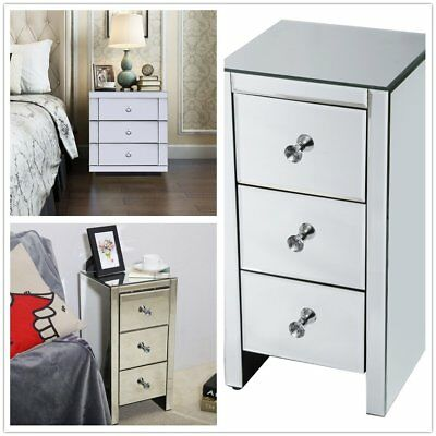 Mirrored Glass Bedside Lamp Table 3 Drawer Bedroom Cabinet Nightstand Furniture