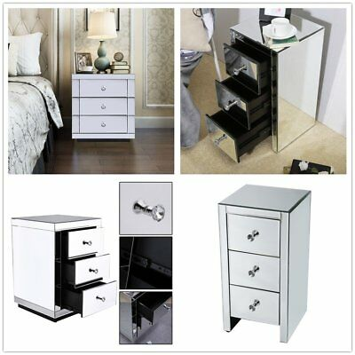 Mirrored Furniture Glass Bedside Cabinet Table With 3 Drawer Bedroom Side Decor