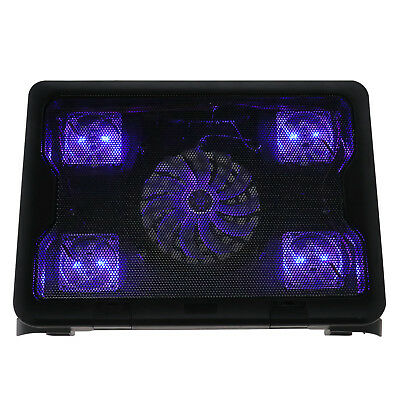 """10-17"""" Notebook Laptop 5 Fans Cooler Cooling Stand Pad Blue LED Extra USB Port"""
