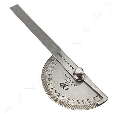 180° Round Protractor Rotary Angle Rule Finder Arm Ruler Steel Craftman DIY Tool