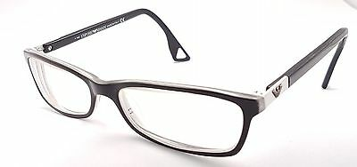 EMPORIO ARMANI Full Rim Black & White Rectangular Used Glasses Eyeglasses Frame