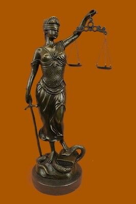 """Lady Justice Blind Scale of Justica 100% Pure Bronze Statue 18""""Patina Deal Gift"""