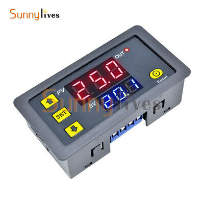 12V LED Dual Display Cycle Timing Delay Timer Relay Thermostat 0-999 Hours