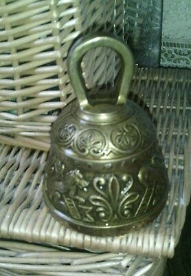 Vintage  antique Brass Hand  temple Bell