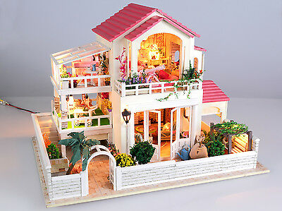 DIY Wooden Dollshouse Miniature Kit w/Lights - Dream House