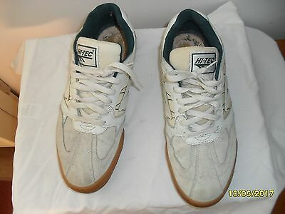 Mens Hi-Tec Classic Squash Shoes Trainers Size 9 Uk Eur 43 White Green